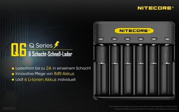 Nitecore Q6 - Ladegerät mit 6 Schächten für Li-Ion Akkus
