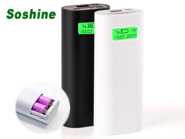 Soshine E4S Powerbank-Ladegerät mit USB-Ausgang und LCD-Display