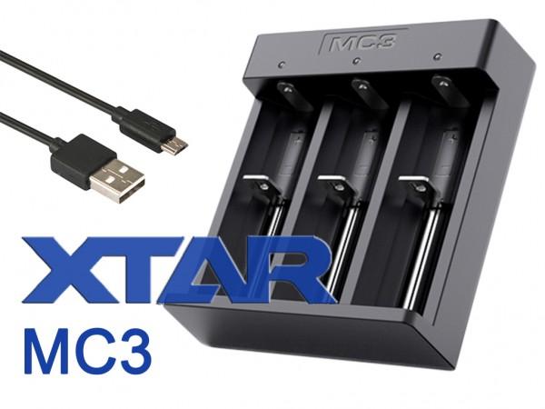 Xtar MC3 – kompaktes Drei-Schacht Ladegerät für Li-Ion-Akkus