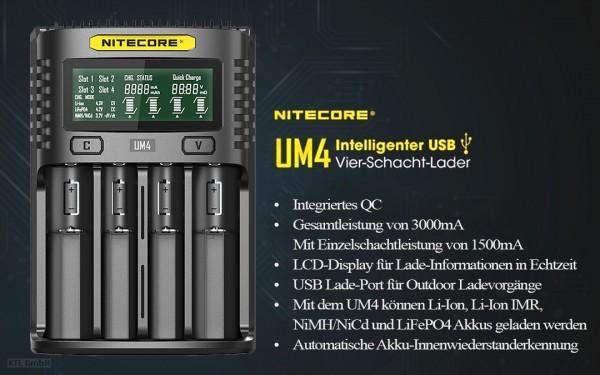 Nitecore UM4 - intelligentes Ladegerät für Li-Ion, LiFePo4, Ni-MH, Ni-CD Akkus