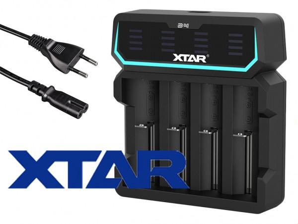 Xtar D4 – Vier-Schacht Ladegerät für Lithium Ionen Akkus mit integriertem Netzteil