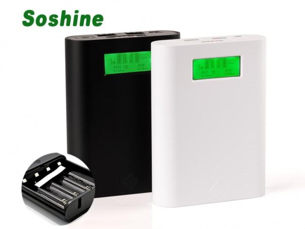 Soshine E3S Powerbank-Ladegerät mit zwei USB-Ausgängen und LCD-Display