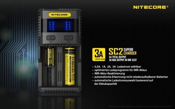 Nitecore SC2 SUPERB - 3A zwei Schacht Schnellladegerät für Li-Ion