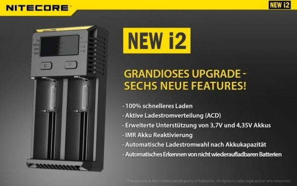 Nitecore NEW i2 - Ladegerät für Li-Ion, LiFePo, Ni-MH, Ni-CD Akkus (Neue Version)
